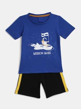 KIDS CRAFT Cotton Printed Top & Bottom Set - Blue & Black