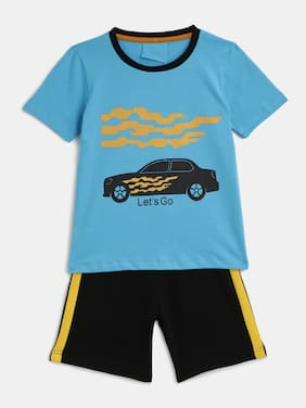 KIDS CRAFT Cotton Printed Top & Bottom Set - Blue & Black