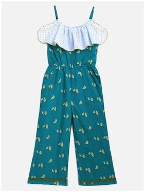 Kids Craft Teal Green Crepe Fabric Cute Off Shoulder Bird Print Girls Jumpsuit