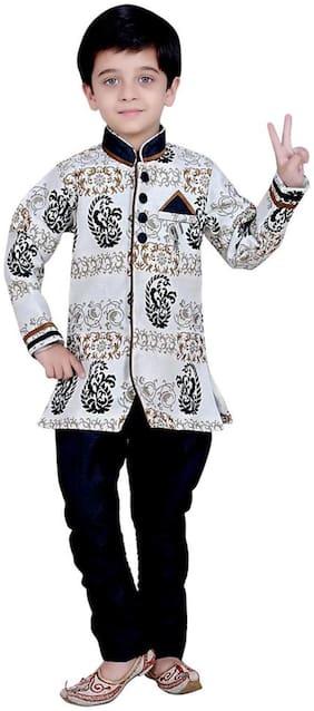 Arshia Fashion Boy Blended Printed Kurta pyjama set - Grey