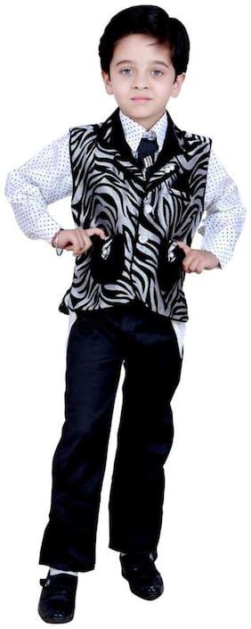 Arshia Fashion Boy Blended Printed Kurta pyjama set - Black