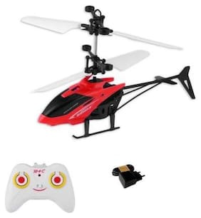 Kids Plastic Induction Type 2-in-1 Flying Indoor Helicopter with Remote  (Red) By Signomark.