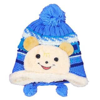 Buy Kids Stylish Winter Cap  Woollen Cap (Blue) Online at Low Prices ... 9b60dc69e77a