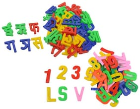 Kids World learning creative hindi alphabet and abc+123 block set  (Multicolor)