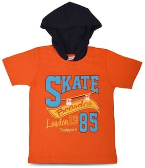 MABYN Boy Cotton Printed T-shirt - Orange