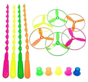 Kidz 5 pcs/Set Bamboo Dragonfly Plastic Flying Saucers Pull String Spinning Wheel Outdoor Toy