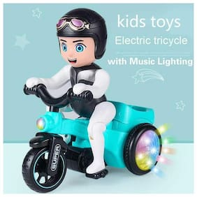 Kidz Electric Tricycle Boy;Musical Toy with Flashing Lights;Moving 360 deg Automatic Rotate;(Assorted )