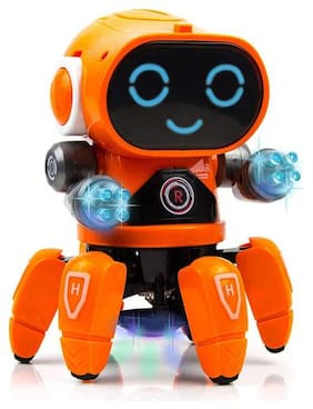 Kidz Smart Bot Robot with Music;7 Colour Disco Lighting;Hand Movement with 6 Spider Legs Smiling face for Kids