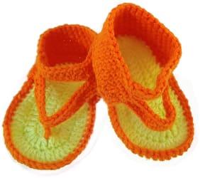 Kidzoo Handmade Crochet Woolen Baby Booties/Flip Flops Slipper/ Sandals for Boys & Girls age 6 to 9 month Length is 11cm Colour Orange & Neon Yellow Booties