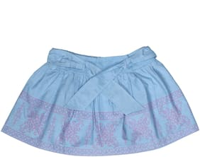 kiko Girl Cotton Solid A- line skirt - Blue