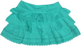 kiko Girl Cotton Solid A- line skirt - Green