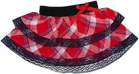 kiko Girl Cotton Solid A- line skirt - Red