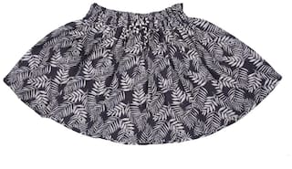 Kimi Girl Cotton Printed Flared skirt - Grey