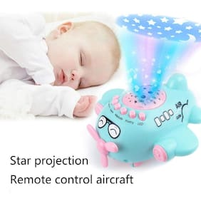 KITI KITS New Born Baby Sleep Projector Toy, LED Remote Controlled Air Craft Learning Musical Toy for Kids Toddlers, Airplane with Sound & Light
