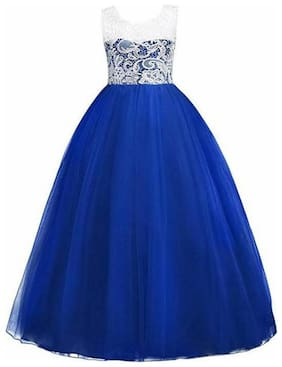 KITTY FASHION Girl's Net Solid Sleeveless Gown - Blue