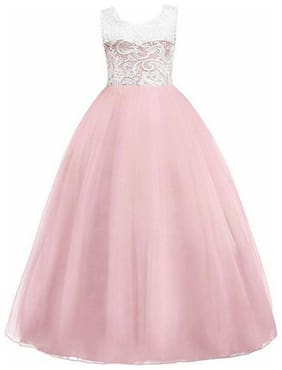 KITTY FASHION Girl's Net Solid Sleeveless Gown - Pink