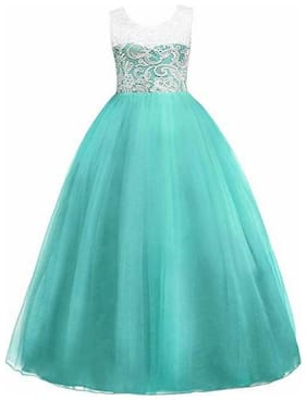 KITTY FASHION Girl's Net Solid Sleeveless Gown - Green