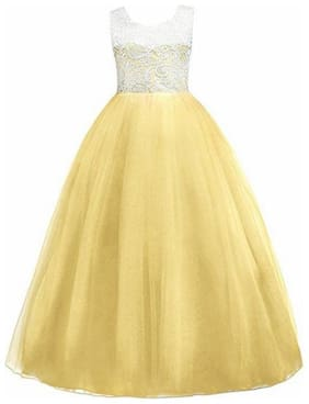 KITTY FASHION Girl's Net Solid Sleeveless Gown - Yellow