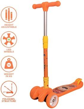 Kiwi Kool Smart Kick Scooter;3 Adjustable Height;Foldable;LED PU Wheels (Orange)