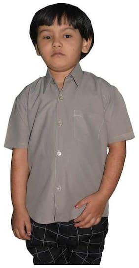 KMP Fashion Boy Cotton blend Solid Shirt Brown