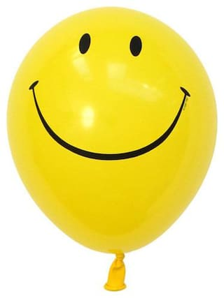 Kosh Printed SMILEY Balloon(Yellow, Pack of 100)