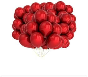 Kosh Solid Balloon(Red, Pack of 100)