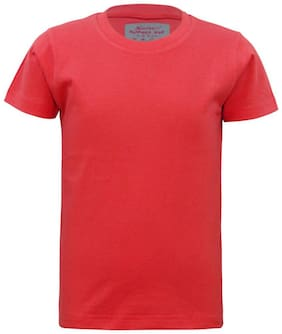 Kothari Boy Cotton Solid T-shirt - Red