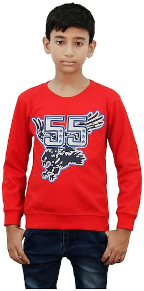 Kothari Boy Blended Printed Sweatshirt - Red
