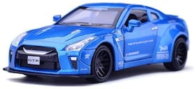 KTRS   1:32 Alloy Nissan GTR Pull Back Diecast Car Model with Sound Light 4 Openable Doors  Engine Cover  Tail with Front and Rear