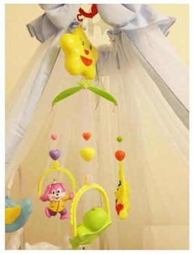 Ktrs 5 pcs Lovely Colourful Musical Hanging Rattle Toys with Hanging Cartoons for Babies (Multi Color)