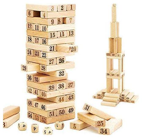 KTRS 51 Wooden Building Blocks with 4 Wooden Dice Learning Hand and Eye Coordination Family Fun Game by SKS Enterprise