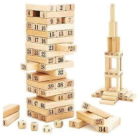 KTRS 51 Wooden Building Blocks with 4 Wooden Dice Learning Hand and Eye Coordination Family Fun Game