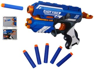 Ktrs Blaze Storm Super Game Manual Soft Foam Bullets Battle Gun Toy for Kids (Blue)