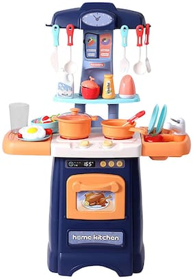 KTRS ENTERPRISE Kitchen Set for Kids Girls Cooking Set Pretend Play Toy with Water Tap Light and Sound Toy Battery Operated with Appliances Playset Birthday Gift
