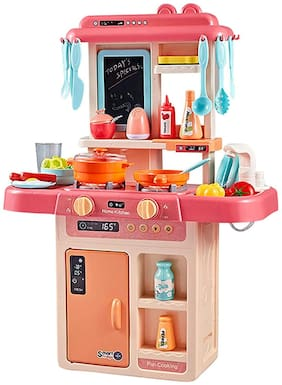 KTRS ENTERPRISE Kitchen Set for Girls;Smoky;Music;Real Water Tap;Actually Fell of Kitchen for Your Kids Best Gift for Girls    Little Chef Kitchen Set (36 Piece Girls Toy Kitchen Set for Kids)