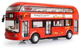 KTRS ENTERPRISE Die Cast Decker Double Die Cast Metal Body Yellow Luxury Bus with Real Sound and LED Light with Pull Back and Door Opening Feature (Multicolor) One