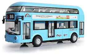 KTRS ENTERPRISEDouble Decker Metal Die Cast Luxury Pull Back Collectable Bus with Light & Sound (Colors as Per Stock)