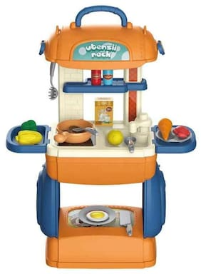KTRS ENTERPRISE 3 in 1 Multi Function Pretend Mobile Kitchen Playset to Play Little Chef's Kitchen Set with Portable Suitcase Design | Kitchen Set for Girls - 31Pcs