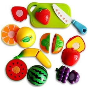 Ktrs enterprise Realistic Sliceable Fruits & Vegetables Cutting Play Set;Can Be Cut in 2 Parts