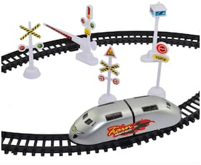 KTRS High Speed Bullet Train Toy Train with Track Set & Signal Accessories Battery Operated Train Set for Kids