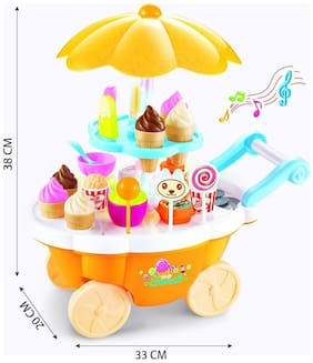 Ktrs Ice Cream Kitchen Play Cart Kitchen Set Toy With Lights And Music -Small