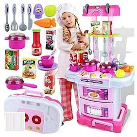 KTRS  Little Chef Kids Kitchen Play Set with Light & Sound Cooking Kitchen Set Play Toy (Pink Big) (3IN1 Kitchen Set)