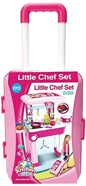 KTRS  Little Chef 2 in 1 Kitchen Play Set  Pretend Play Luggage Kitchen Kit for Kids with Suitcase Trolley  Multi Color with Lights & Sound