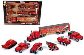 KTRS Mini Die Cast Metal Fire Rescue Vehicle Trucks Toys Play Set for Kids  7 pcs