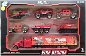 KTRS Mini Die Cast Metal Fire Rescue Vehicle Trucks Toys Play Set for Kids  7 pcs