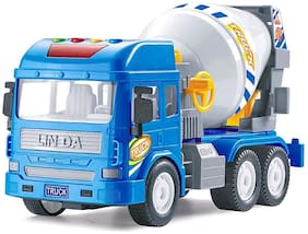Ktrs Pull Back Friction Powered Real Mechanism Cement Mixer Construction Truck Toy Vehicles with Light and Sound (Blue) 1 pic