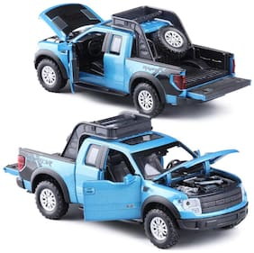 KTRS Raptor SUV Die-Cast 4 Wheel Drive Metal Car Pull Back with 4 Openable Doors  Engine Cover  Tail with Front and Rear Light & Music