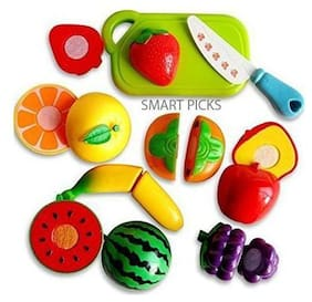 Ktrs Realistic Sliceable Fruits & Vegetables Cutting Play Set;Can Be Cut in 2 Parts