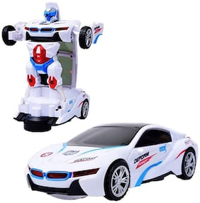 Ktrs Robot Sports Car Toy with Convertible Robot with Lights & Music & Bump & Go Function for Kids (White)