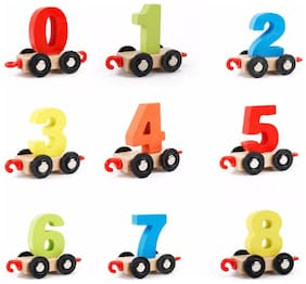 Ktrs Wooden Digital Number Train Learning and Educational Toy with Incredible Finishing